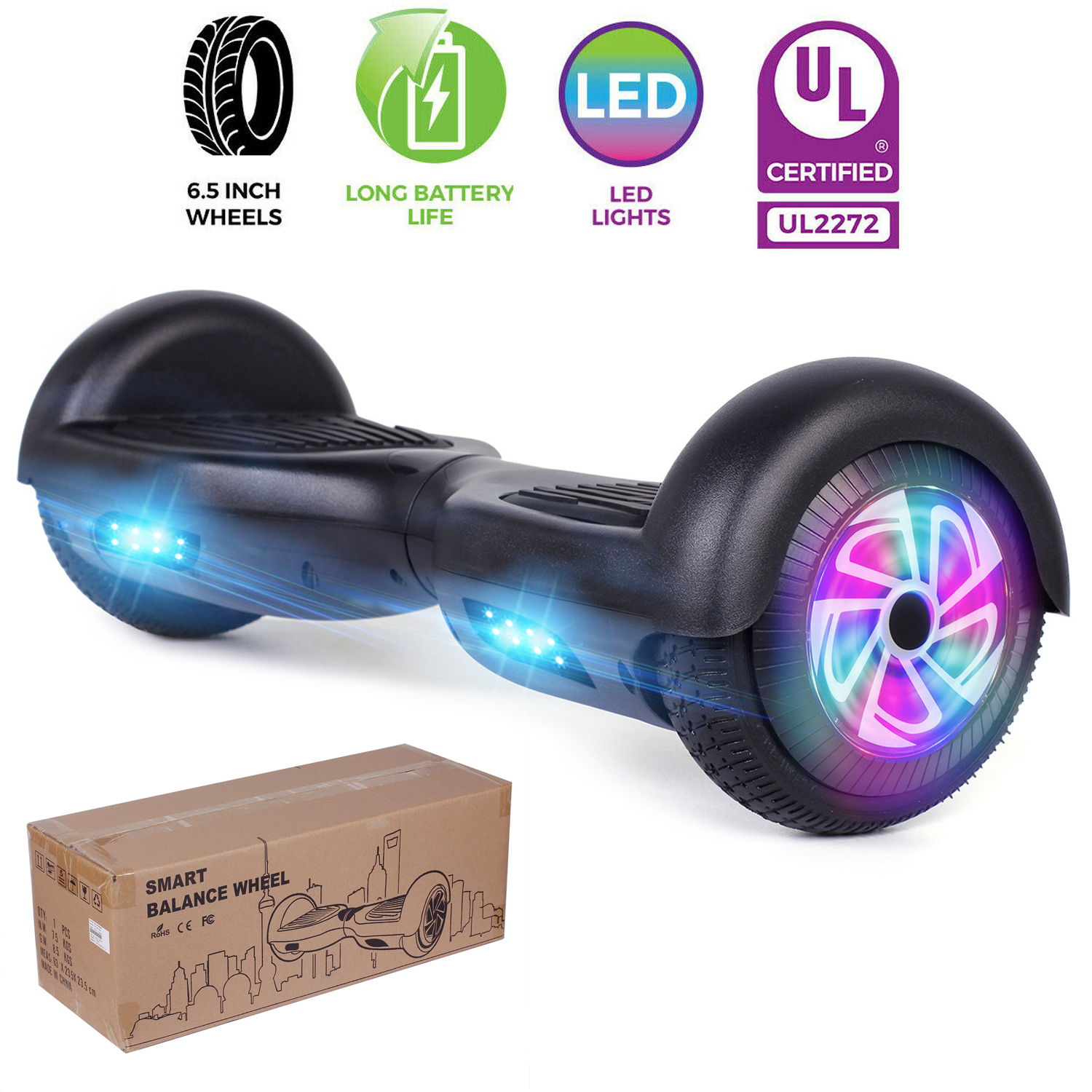 6.5'' 2-Wheel LED Self Balance Electric Scooter UL Hoverboar