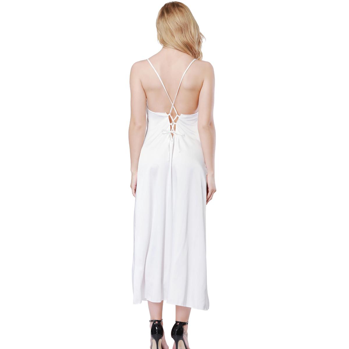 Long Women Summer Night Dress Sexy Lace Nightgown Silk