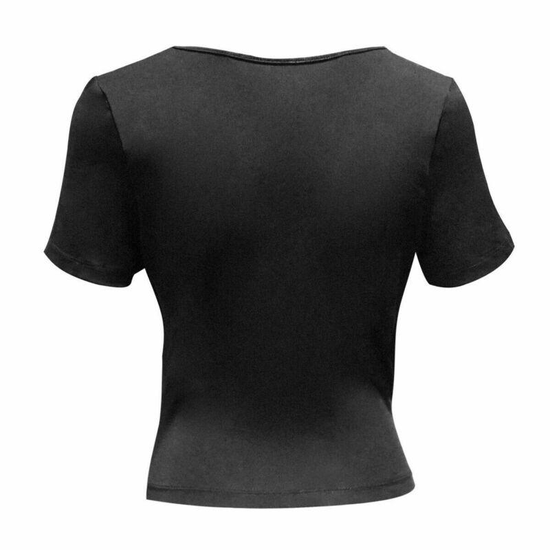 Womens-Summer-V-Neck-Short-Sleeve-Cross-Wrap-Shirts-Tank-Top-Blouse-Shirt thumbnail 6