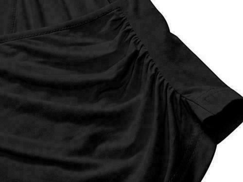 Womens-Summer-V-Neck-Short-Sleeve-Cross-Wrap-Shirts-Tank-Top-Blouse-Shirt thumbnail 9