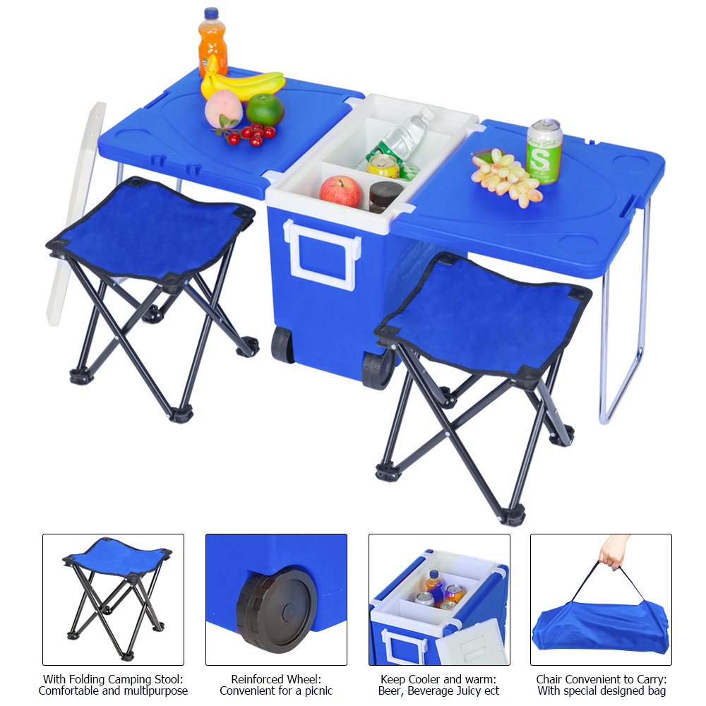 US Multi Function Rolling Cooler Picnic Camping Outdoor with