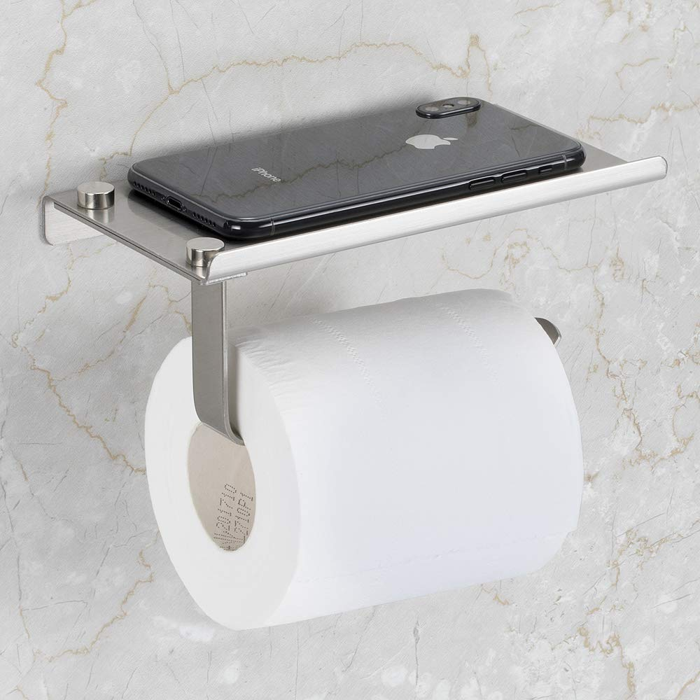 Details About Toilet Paper Holder With Mobile Phone Storage Shelf Holders Wall Mounted Rack