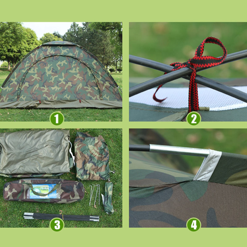1-4 Person Outdoor Camping Tent Waterproof Instant Pop Up Hiking Tent Camouflage