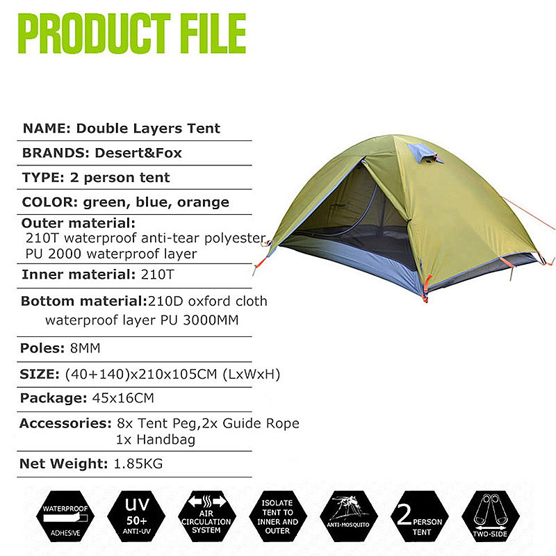 Waterproof-2-Person-Double-Layer-Camping-Tent-4-Seasons-Breathable-Ultralight thumbnail 14