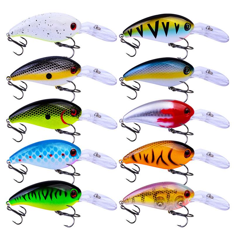 14PCS//Set Random Fishing Lures Minnow Bait Bass Fishing Trout Walleye With Hooks