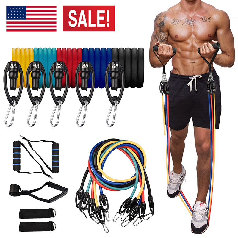 11x Muscle Strength Training Exercise Handle TPE Elastic Resistance Bands