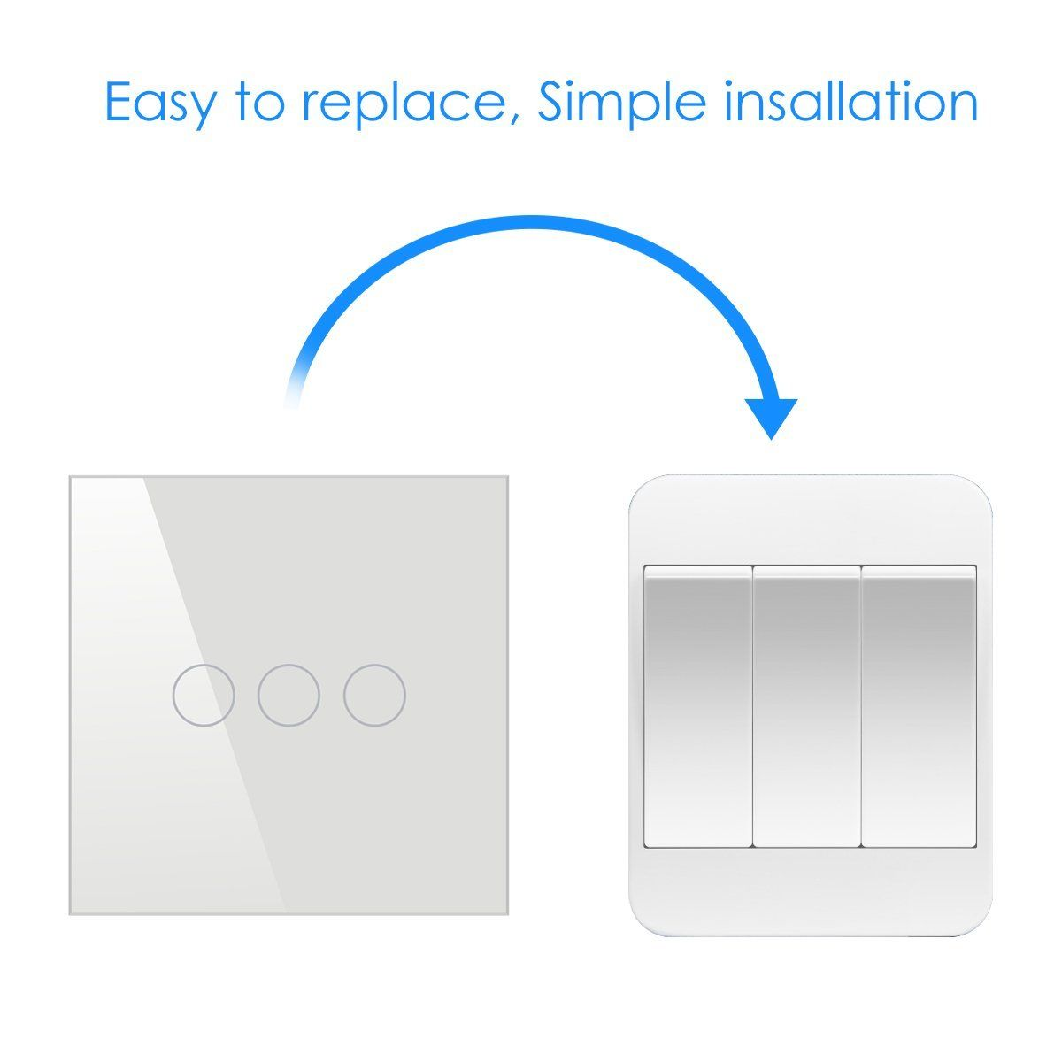 1 2 3 Way Touch Wall Switch Wireless Contorl For Bedroom Led Light Repair Home