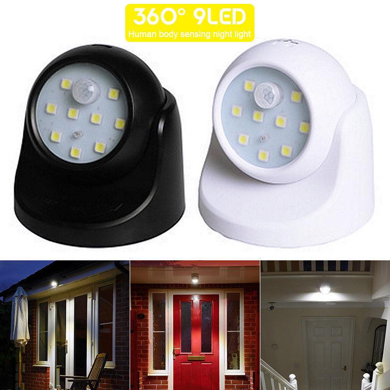 360° Battery Power Motion Sensor Security LED Light Garden Outdoor Indoor Night