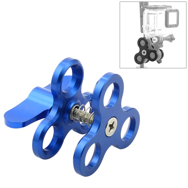 CAOMING Triple Ball Clamp Open Hole Diving Camera Bracket CNC Aluminum Spring Flashlight Clamp for Diving Underwater Photography System Durable Color : Blue