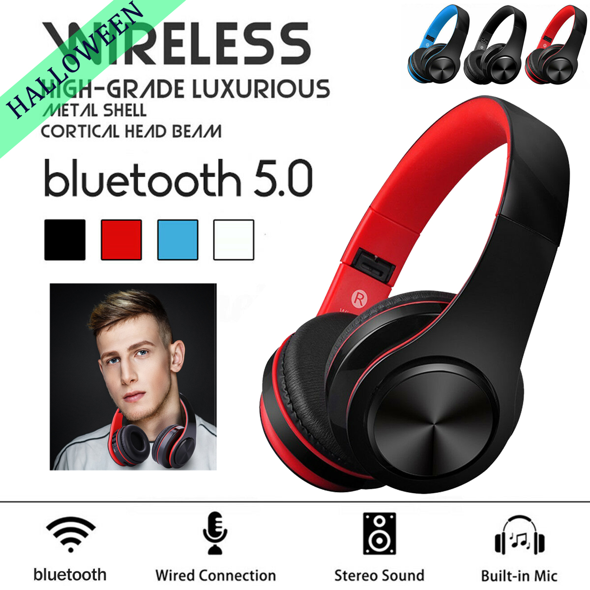 Foldable Wireless Bluetooth Headset Noise Reduction Stereo H