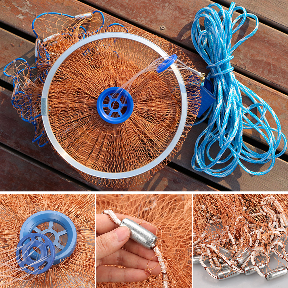 8ft-12ft-16ft-Saltwater-Fishing-Cast-Net-For-Bait-Trap-Height-Easy-Throw-Sink-US thumbnail 8