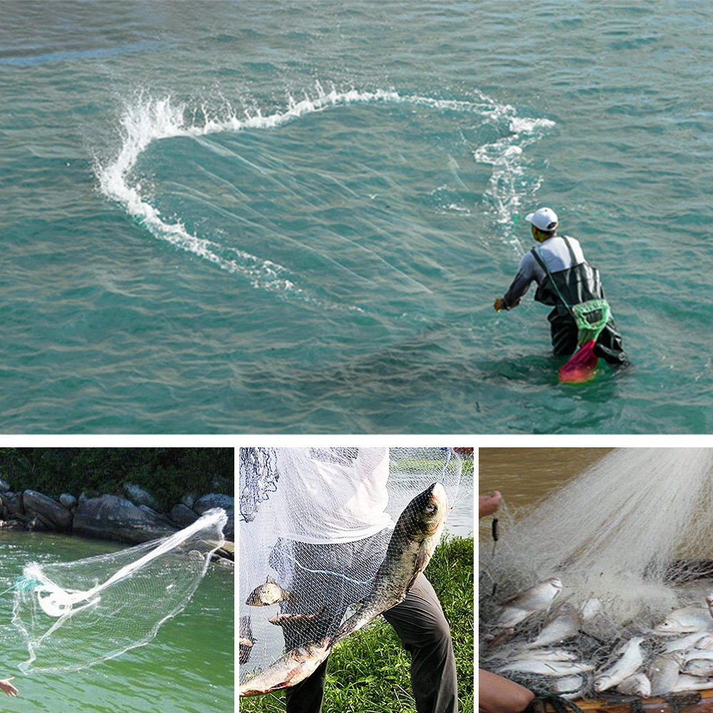 8ft-12ft-16ft-Saltwater-Fishing-Cast-Net-For-Bait-Trap-Height-Easy-Throw-Sink-US thumbnail 11