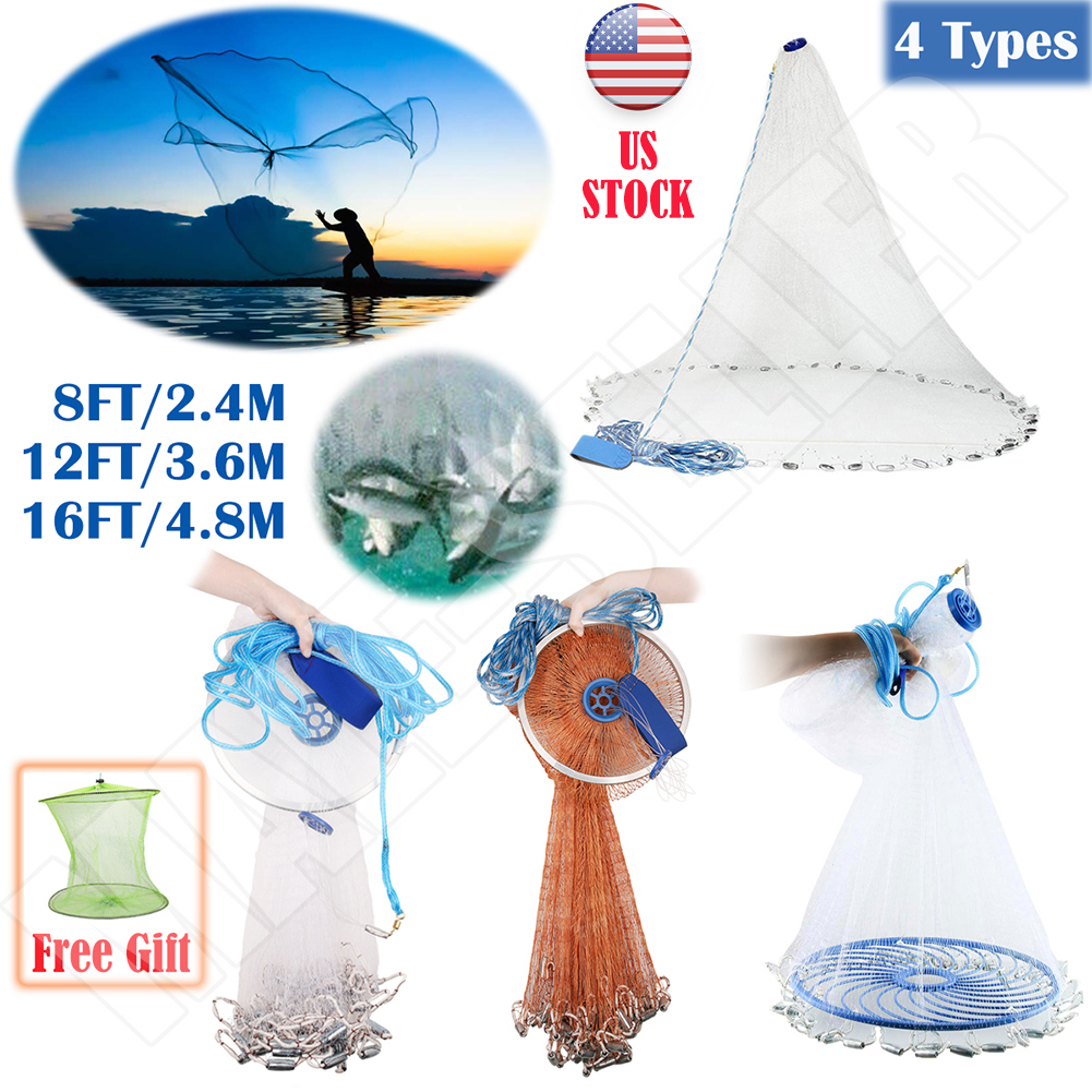 8ft-12ft-16ft-Saltwater-Fishing-Cast-Net-For-Bait-Trap-Height-Easy-Throw-Sink-US