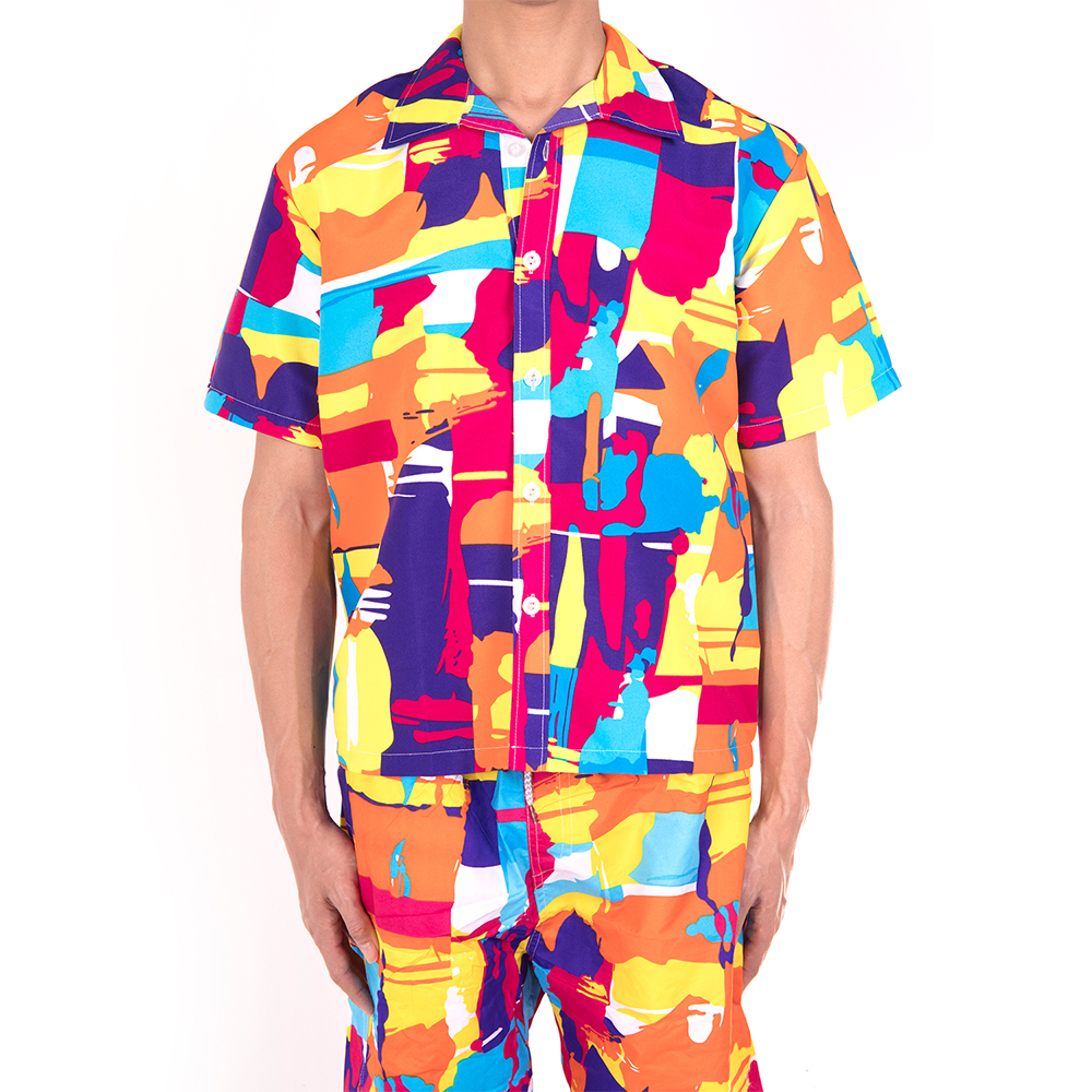 Men-Short-Sleeve-Shirt-Beach-T-shirt-Holiday-Summer-Hawaiian-Casual-Slim-Fit-Top thumbnail 15
