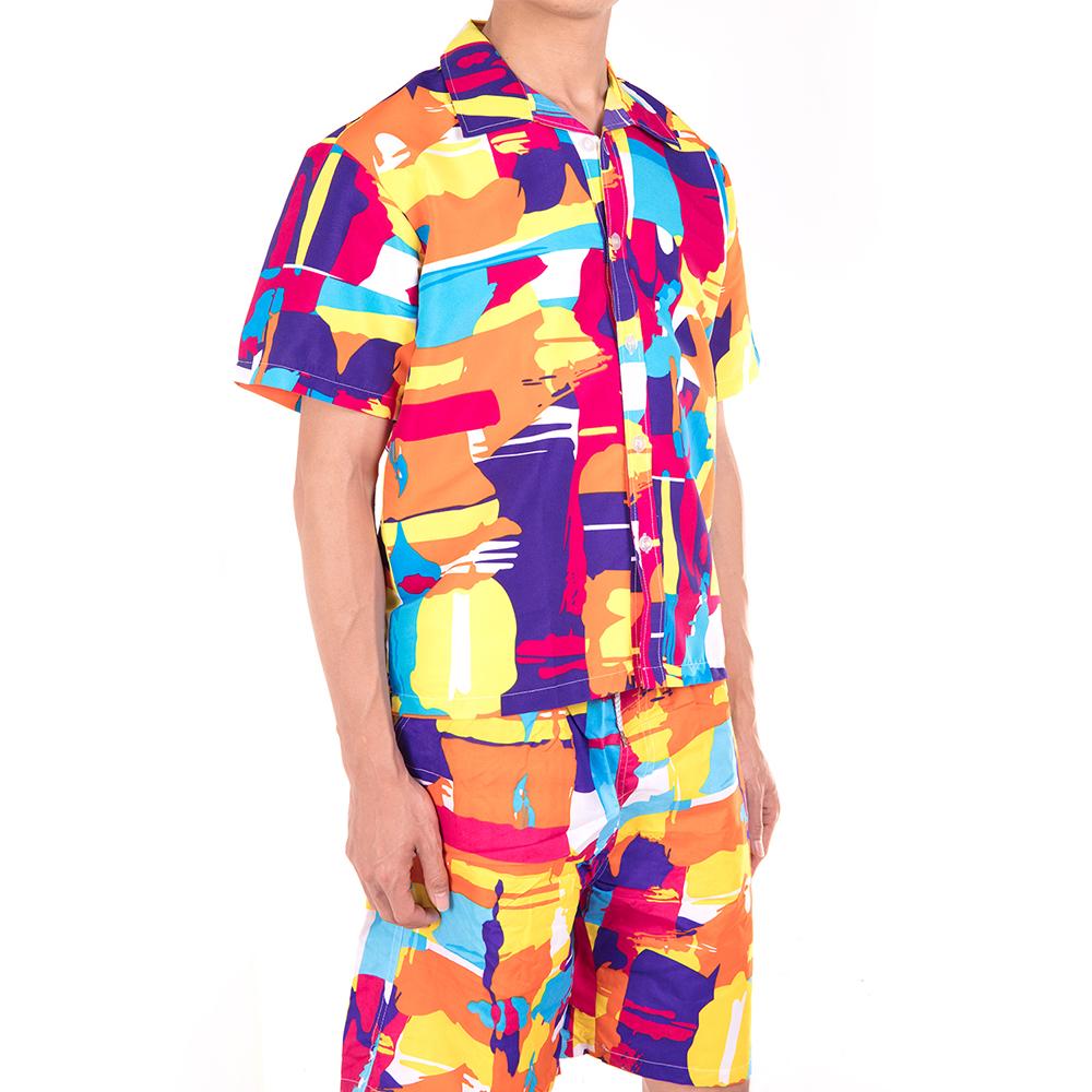 Men-Short-Sleeve-Shirt-Beach-T-shirt-Holiday-Summer-Hawaiian-Casual-Slim-Fit-Top thumbnail 16