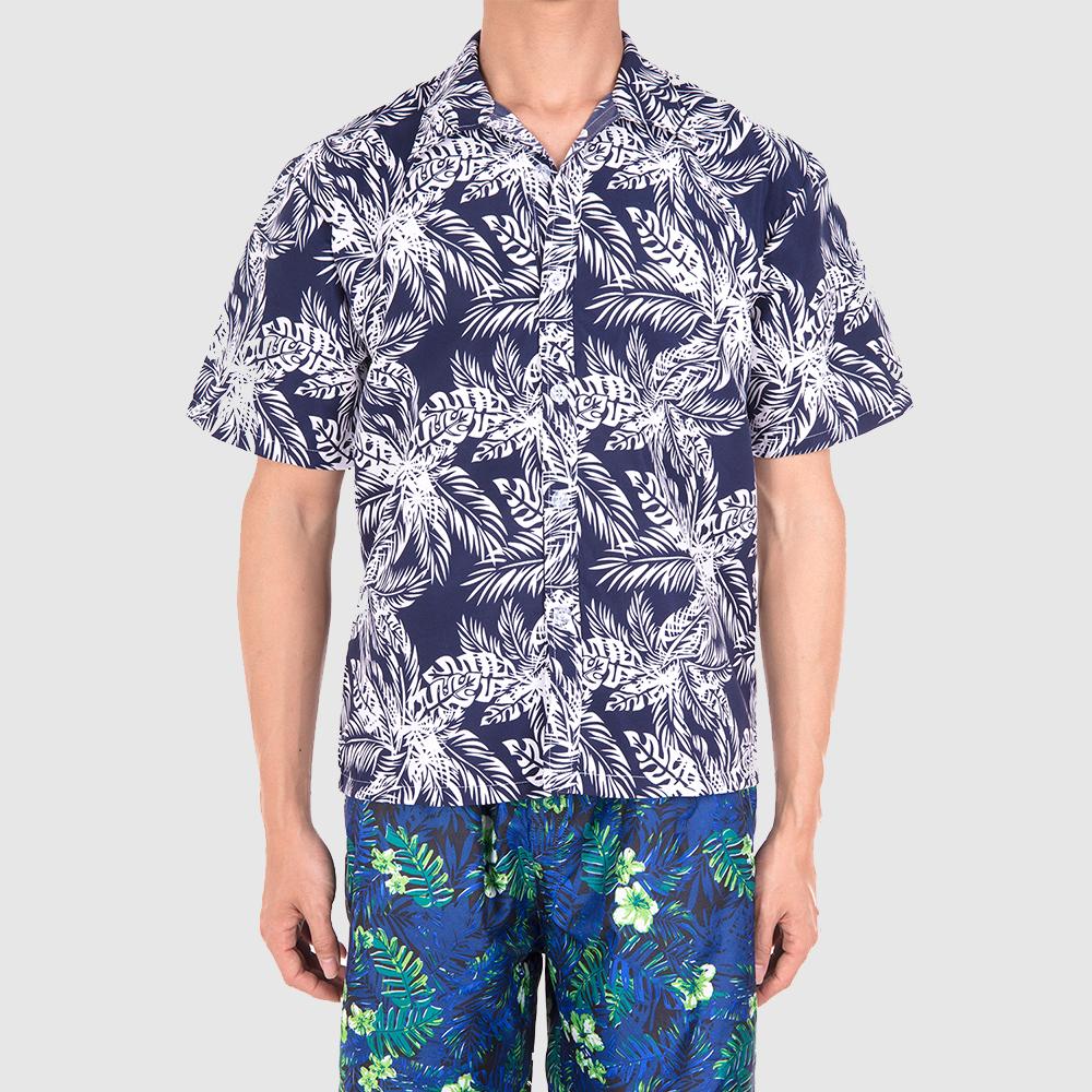 Men-Short-Sleeve-Shirt-Beach-T-shirt-Holiday-Summer-Hawaiian-Casual-Slim-Fit-Top thumbnail 5