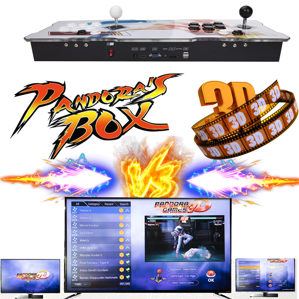Upgraded-Pandora-039-s-Box-3D-2448-in-1-Retro-Arcade-Console-Double-Stick-Support-EU thumbnail 1