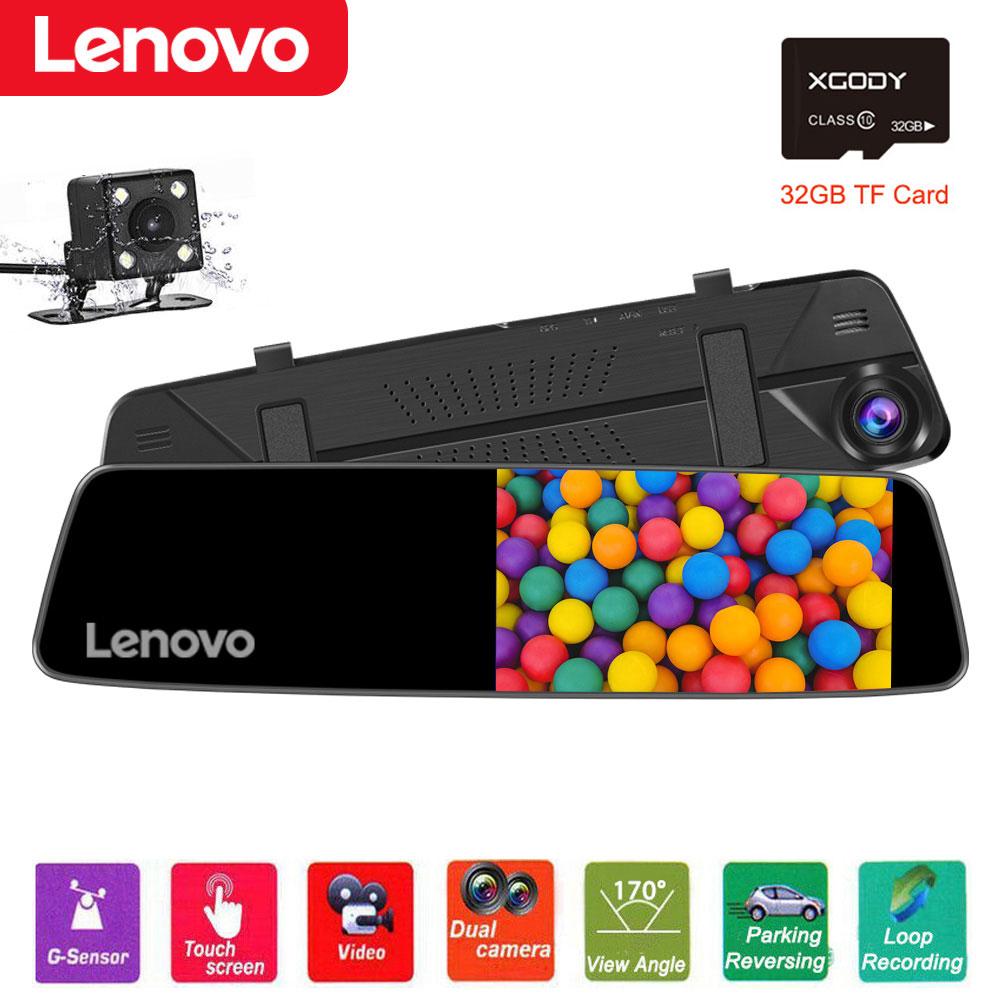 """Lenovo 4.5"""" 32GB 1080P Dual Lens Car DVR Dash Cam Rearview C"""