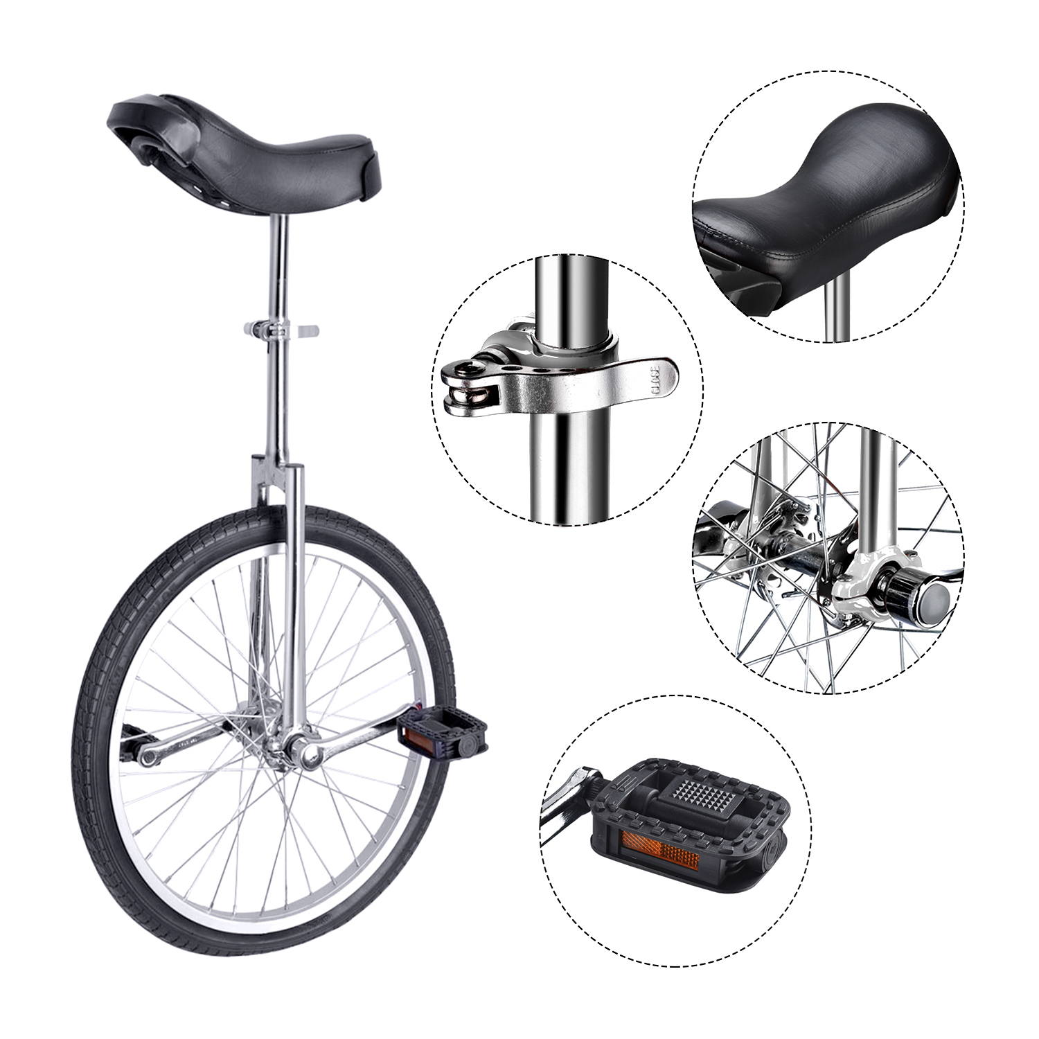 """24/"""" Black Unicycle Cycling Scooter Circus Bike Skidproof Tire Balance Exercise"""