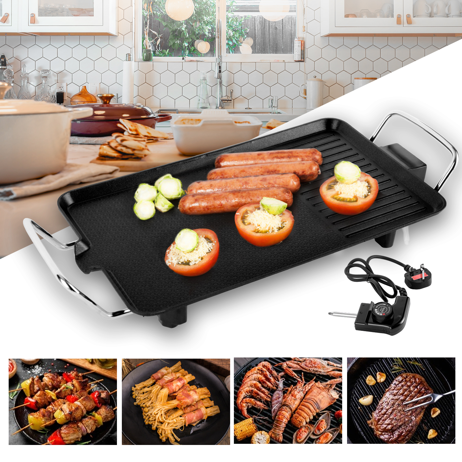 Electric Teppanyaki Table Grill Griddle BBQ Barbecue Home No