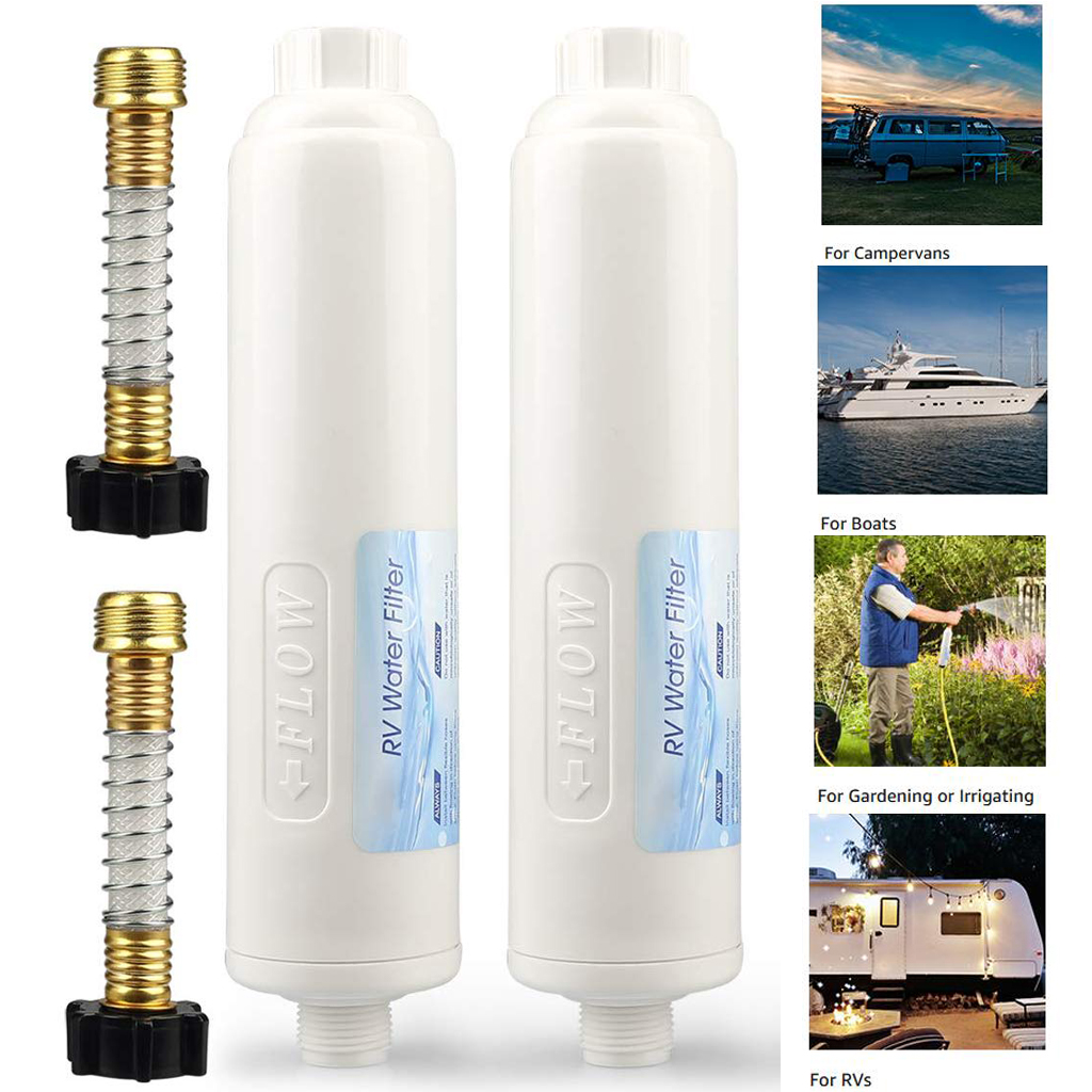 Inline RV Water Filter with Flexible Hose Protector Boats Camping Gardening Pool