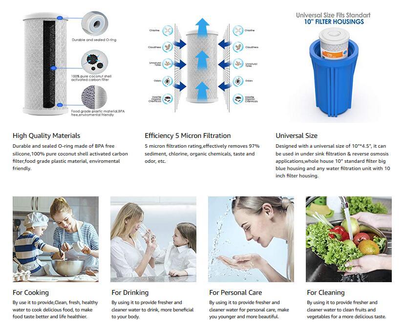 4 X Pentek Carbone Filtre à Eau dfx-cb-10 Filtre à charbon actif-Cartouche NEUF