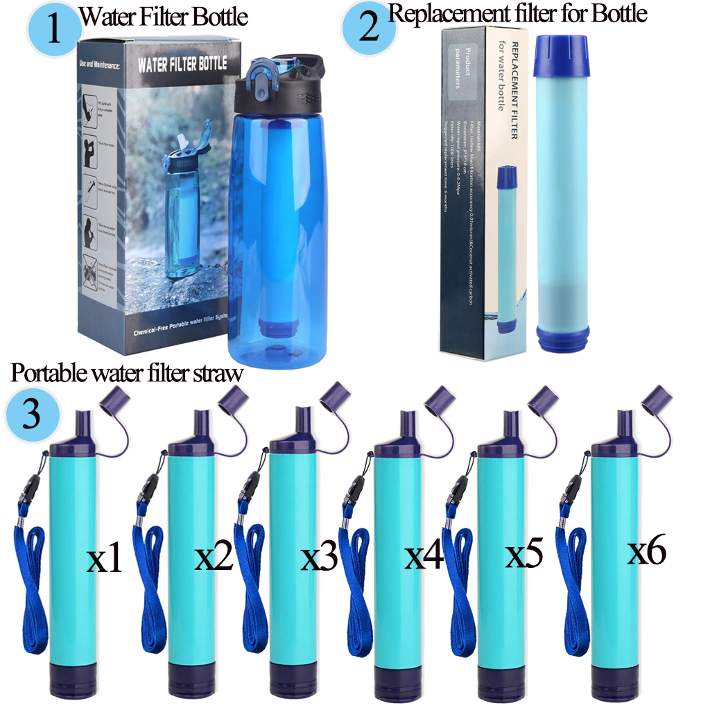 Emergency Peak Life Sport Water Filter Bottles 2-Stage Integrated Filter Straw for Hiking Survival Gear Gym 650 ML Backpacking