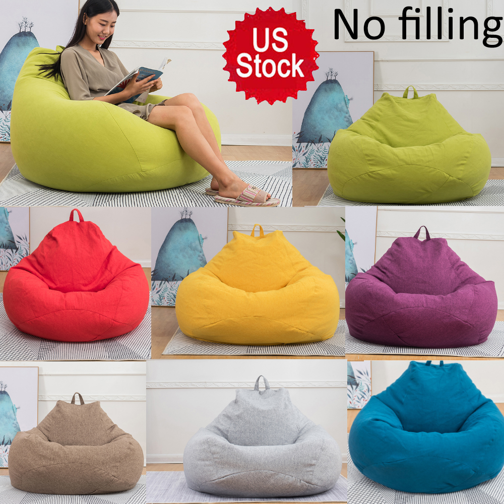 US Adults Kids Large Bean Bag Chairs Sofa Cover Indoor Lazy