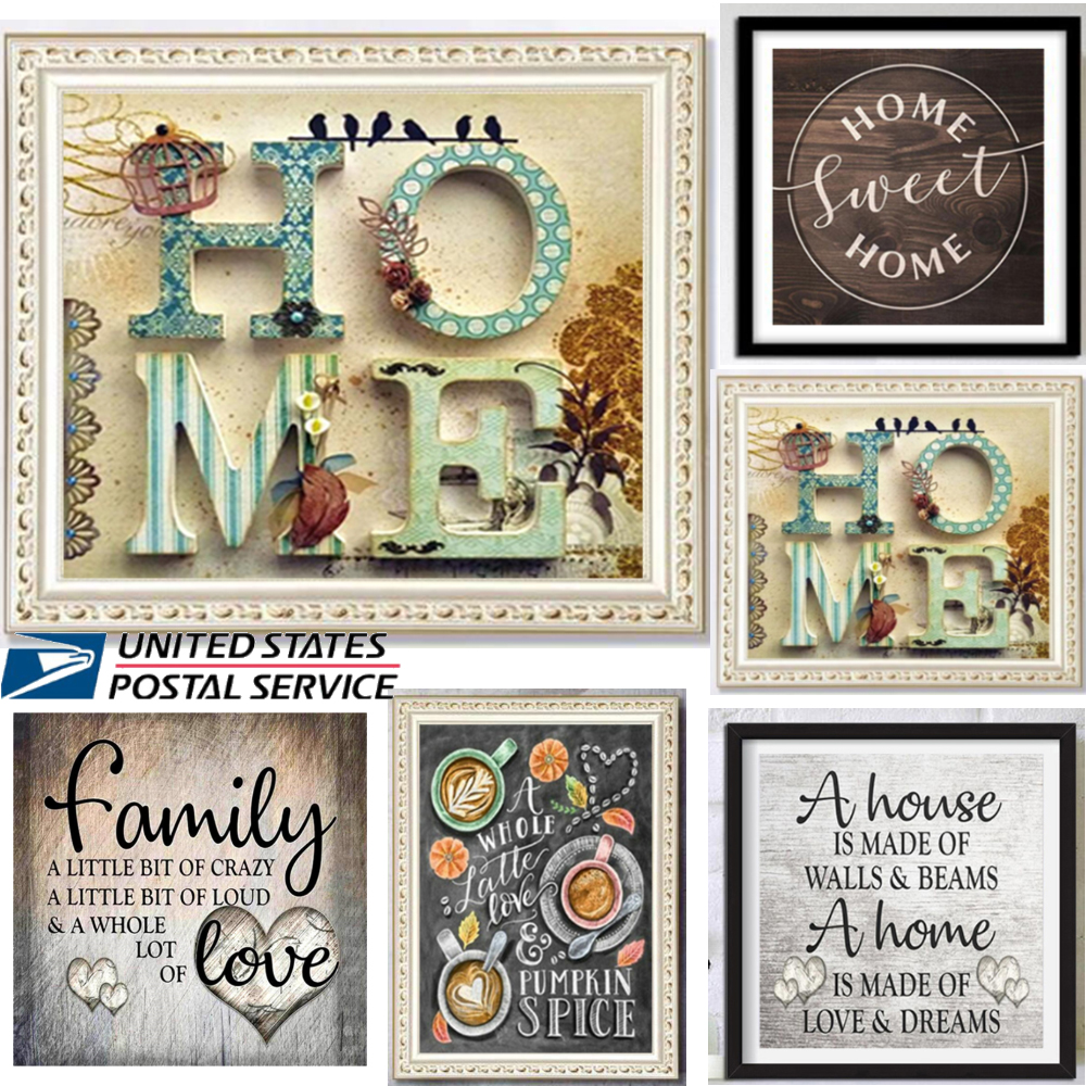 5D DIY Full Drill Diamond Painting Kit Art Crafts Home Coffee Room Decor Letters